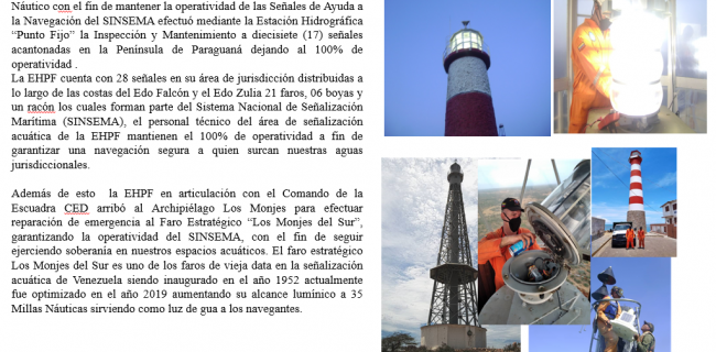 I Fase de la recorrida de mantenimiento de Faros y Boyas pertenecientes al SINSEMA Área Península de Paraguaná y reparación de emergencia del Faro Estratégico